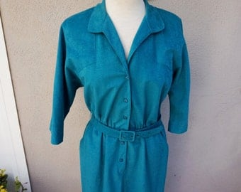 Vintage Teal Dress, Teal Belted Dress, Green Dress, Green Belted Dress, Mid Length Dress, Conservative Dress, Button Up Dress 70s 80s Dress