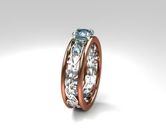 Aquamarine engagement ring, filigree ring, rose gold, white gold, blue engagement, light blue, wedding ring, two tone, aquamarine filigree