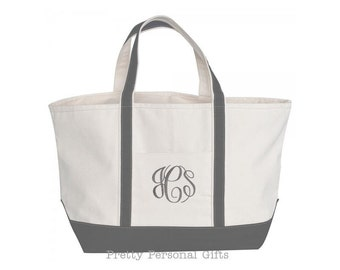 Gray Zipper Tote Bag  - Monogrammed  -  LARGE Personalized Canvas Tote Bag