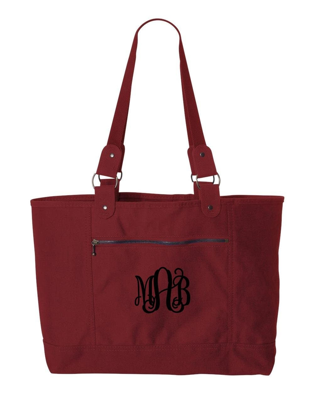 cranberry canvas tote bag monogrammed