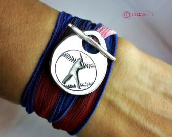 Baseball Jewelry, Baseball Mom Bracelet, Silk Wrap Bracelet, USA, Americana, Baseball, Gift for her