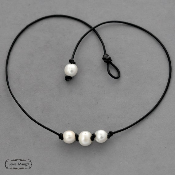 triple pearl leather necklace pearl necklace black leather