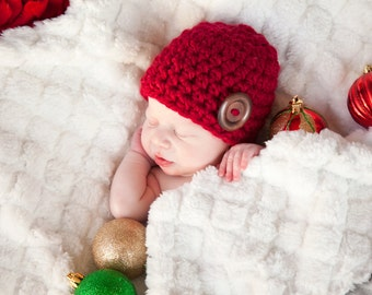 Newborn Baby Hat Baby Girl Hat Baby Boy Hat Cranberry Red Baby Hat Wood Button Baby Beanie Photo Prop Photography Prop Christmas Valentines