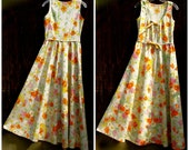 SIZZLING SUMMER SALE /// Vintage Spring Wildflowers Dress . homemade 70s floral maxi dress