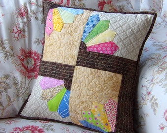 patchwork quilt cushion cover, pillow case, Quilted cushion cover/cese - Reduced to clear