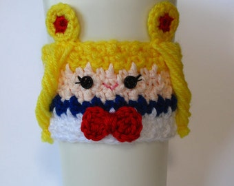 Crochet Sailor Moon Inspired Coffee Cup Cozy