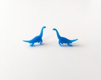 Plesiosaur Studs. Loch Ness Monster. Nessie Earrings. Blue Dino Earrings. Dinosaur Studs. Laser Cut Perspex. Statement Earrings. Swimming