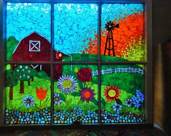 SOLD Mosaic Stained Glass Country Sunset