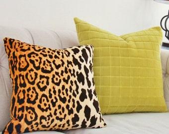 Leopard Velvet Pillow - Leopard Velvet Pillow Cover - Animal Print Throw Pillow - Gold and Black Cotton Velvet Pillow - Motif