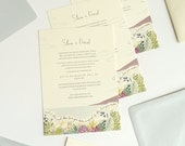 Succulent Beach Wedding custom illustrated stationery - dove blue, olive, and lavender palette