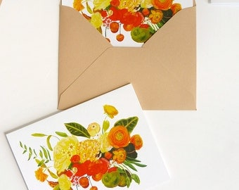Citrus Floral set of 5 cards