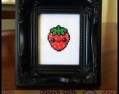 Kawaii Strawberry Cross Stitch (Printable PDF Pattern) - Immediate Download from Etsy - Cute Sweet Japanese Style