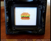 Burger Cross Stitch Pattern ( Printable PDF ) - Immediate Download from Etsy - Cute Kawaii or Cheeseburger.