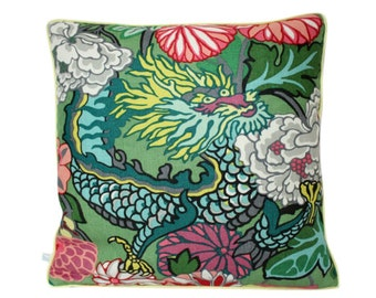 Schumacher Chiang Mai Dragon Jade Pillow Cover with Yellow Piping