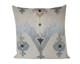Martyn Lawrence Silk Raja Embroidered Ikat Pillow Cover- F Schumacher Fabric
