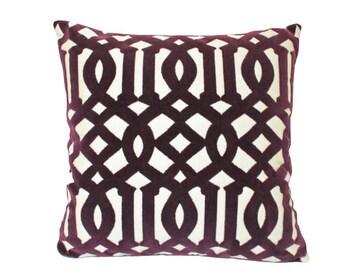 Schumacher Imperial Velvet Trellis Pillow Cover in Eggplant