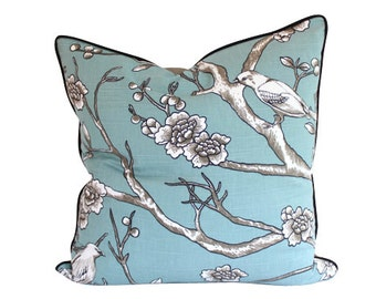Designer Pillow Cover with Piping in Dwell Studio Vintage Blossom Bird Fabric
