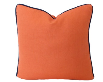 Orange Linen Decorative Pillow with Navy Blue Piping