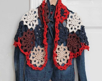 Crochet pattern flower shawl