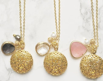 Essential Oil Gold Diffuser Necklace with Mini Round Locket on Dainty Gold Filled Chain - You Choose Length - Smoky Quartz, Clear, Coral
