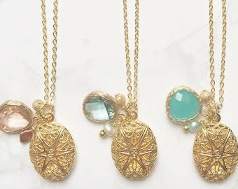 Mini Oval Essential Oil Diffuser Necklace on Gold Filled Chain-Essential Oil Accessories-Champagne Peach, Sea Green, Mint, Chrysoprase
