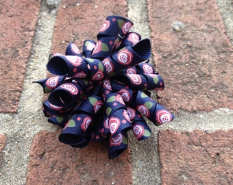 Navy Country Rose Korker Hair Bow