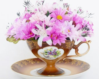 Teacup Silk Floral Arrangement, Pink & Lavender Mini Daisies, Vintage Bronze Teacup, Artificial Flower Arrangement, Silk Flower Arrangement,