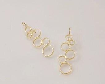 Gold Circles Earrings, gold  Earrings,  Circles Earrings, dangle earring,