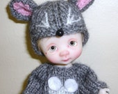 """Handmade cashmere """" Mouse"""" outfit and hat"""
