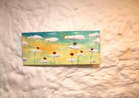 Toile art peinture acrylique murale horizontale art toile for Peinture murale acrylique
