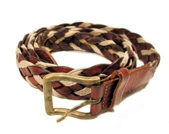 70s Men's Belt XL XXL, Vintage Turkish Woven Leather Belt, Brass Buckle, Waist Size 50