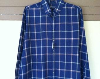 Mens Dress Shirt • Van Heusen Sportswear • Blue Plaid Collared Shirt • Vintage Mens Shirt