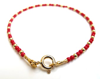 14 k solid yellow gold beads small red coral beads bracelet genuine natural gem gold bead bracelet