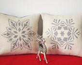 Silver Snowflake Pillow, Burlap Christmas Pillow Cover, Set of 2 Holiday Pillow Christmas Decorations