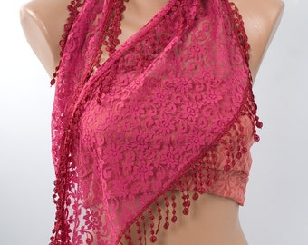 FUSCHIA Lace Scarf with fringe. Spring and Summer Scarf with fringe. New season. FREE Shipping.