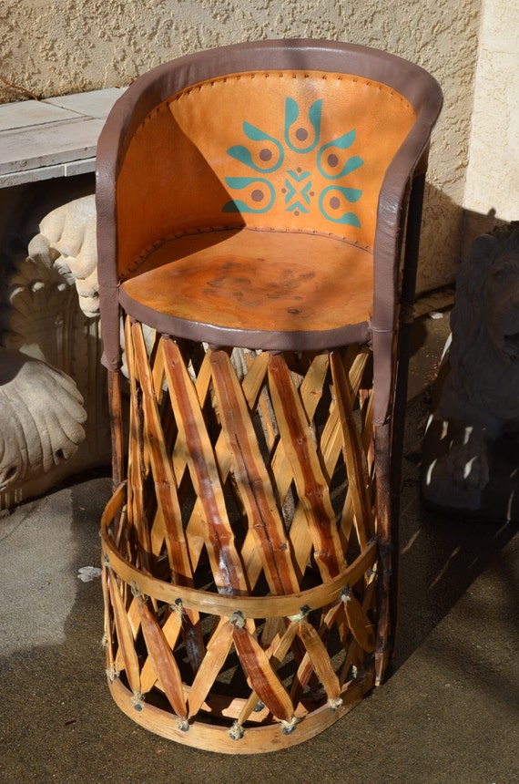 Handmade Vintage Equipale Leather And Wood Rustic Chair Or Bar