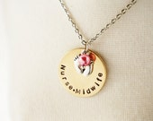 Nurse Midwife Gift Hand Stamped Disk Necklace- Brass - Birthing Gift Jewelry - Feet Charm - Choice of Pearl