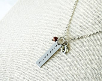 Nicu Nurse - Gift Necklace- Hand Stamped - Metal rectangle - Feet charm - Choice of Pearl