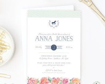 Kentucky Derby Bridal Shower Invitations - Printed or Digital Files