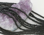 Lot of 5 strands 3x2.5mm Jet Black Chinese Glass Rondelle Loose Spacer Beads 100 beads/strand (BH5174)