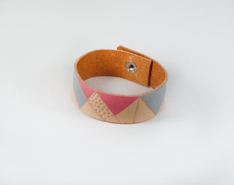 leather cuff bracelet hand painted and tooled geometric - pink, gray, nude, veg tan leather, snap closure, 2 cm wide, medium size