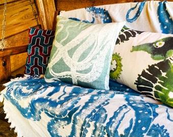 Blue Octopus Pillow, Throw Pillow, Nautical Cushion, Beach Decor, Accent Pillow,