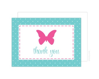 Butterfly Thank You Cards (Butterfly Folded Note Card, Baby Shower Thank You, Butterfly Notecard, Pink Butterfly Thank You)
