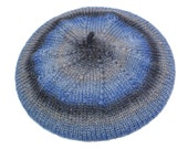 Blue and Gray Beret: Hand Knit Striped Slouchy Tam, Knit Hat with Sparkle, Fall Fashion, Handmade in the USA, Ready to Ship