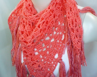Coral Shawl with Fringe; Crochet Baktus, Handmade Shawl, Triangle Scarf, Hippie Shawl, Boho Shawl, Vegan Shawl, Ready to Ship