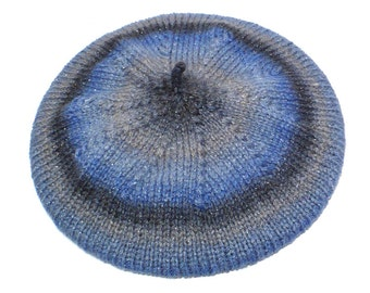 Blue and Gray Beret: Hand Knit Striped Slouchy Tam, Knit Hat with Sparkle, Handmade in the USA, Ready to Ship