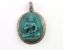 Pave Diamond Pendant, Pave Carved Lakshmi Pendant, Diamond  Carved Lakshmi Charm, Pave Hindu Goddess lakshmi, Pave Connector. (DIA/LE/21-C)