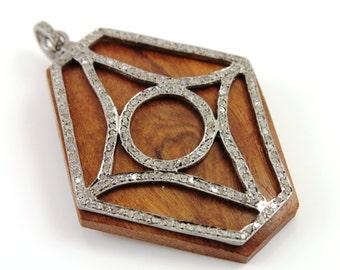 Pave Diamond Pendant, Pave Wood Hexagon Pendant, Pave Motif, Pave Art Deco, Pave Designer, Pave Fancy, Pave Diamond Connector. (DCH/PDT/261)