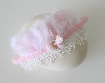 Baby Girl Feather Headband-Pink and White Headpiece-Baptism-Flower Girl Headband-Photo Prop-Children Clothing by Chasing Mini
