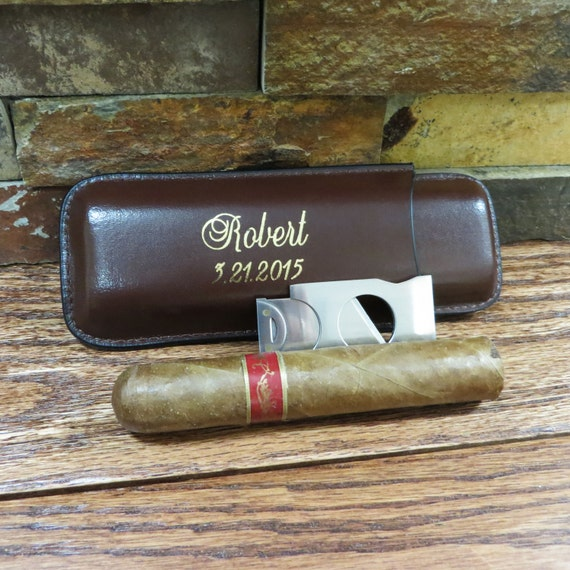 Personalized Cigar Case with Cutter - Groomsmen gift - Best Man -Gifts for Men